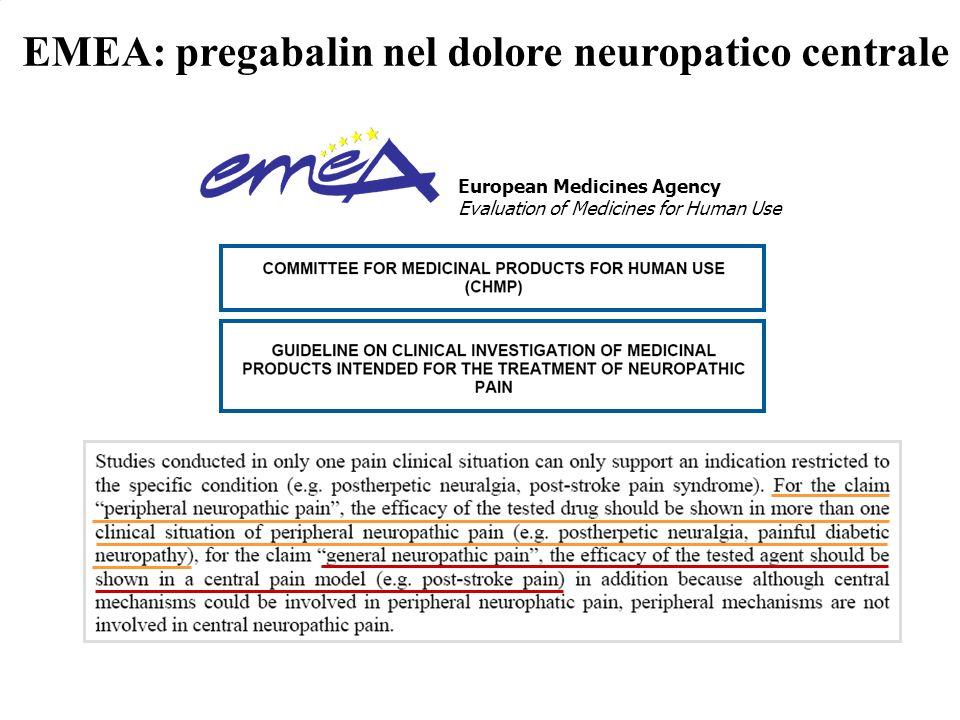 EMEA: pregabalin nel dolore neuropatico centrale