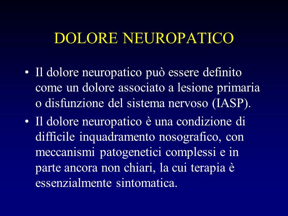 DOLORE NEUROPATICO Il dolore neuropatico può essere definito come un dolore associato a lesione primaria o disfunzione del sistema nervoso (IASP).