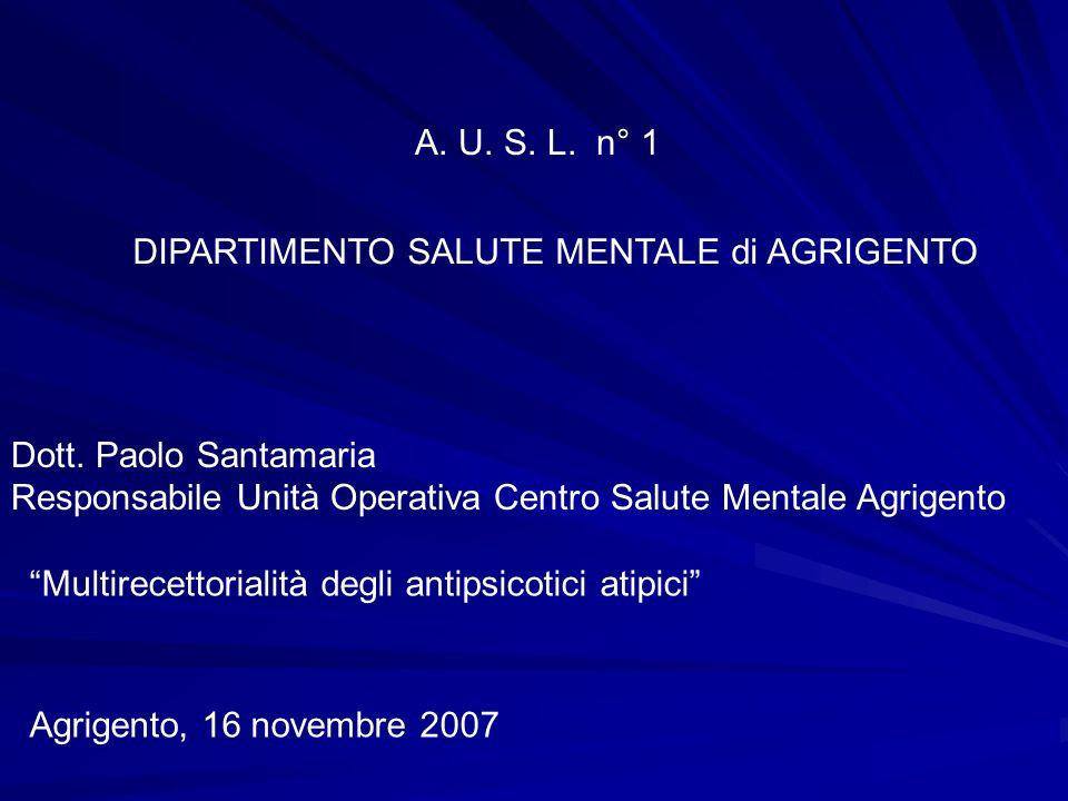 A. U. S. L. n° 1 DIPARTIMENTO SALUTE MENTALE di AGRIGENTO. Dott. Paolo Santamaria. Responsabile Unità Operativa Centro Salute Mentale Agrigento.