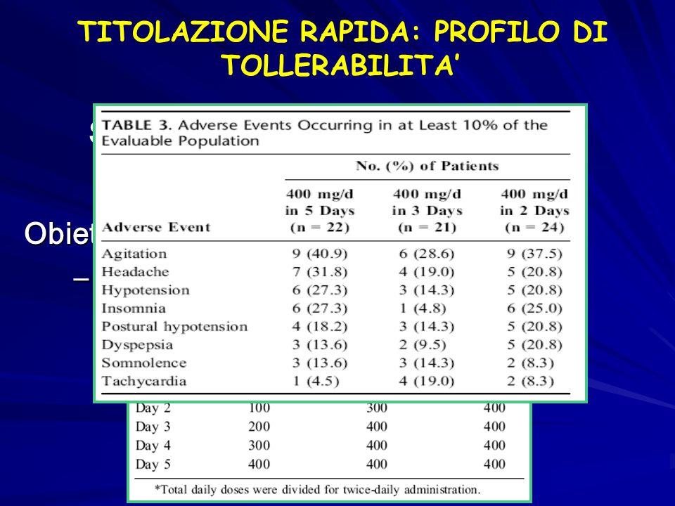 TITOLAZIONE RAPIDA: PROFILO DI TOLLERABILITA'