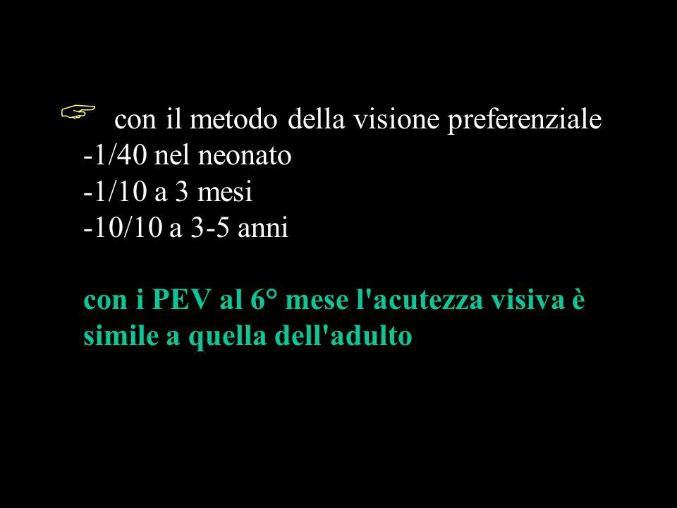 con il metodo della visione preferenziale -1/40 nel neonato -1/10 a 3 mesi -10/10 a 3-5 anni con i PEV al 6° mese l acutezza visiva è simile a quella dell adulto