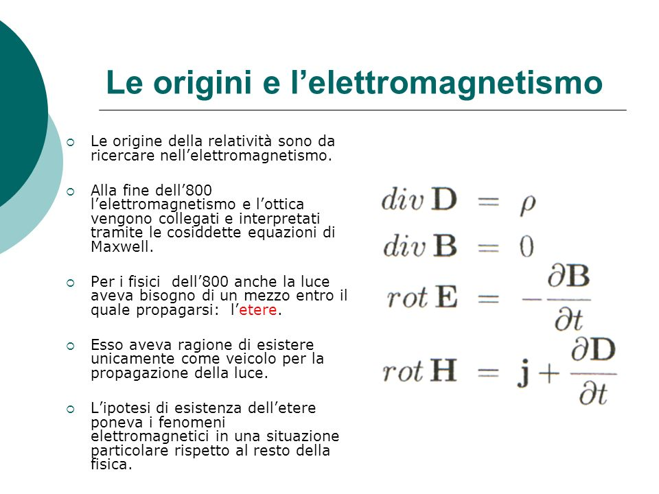 Le origini e l'elettromagnetismo