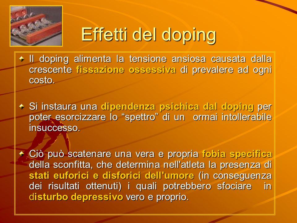 Effetti del doping Il doping alimenta la tensione ansiosa causata dalla crescente fissazione ossessiva di prevalere ad ogni costo.