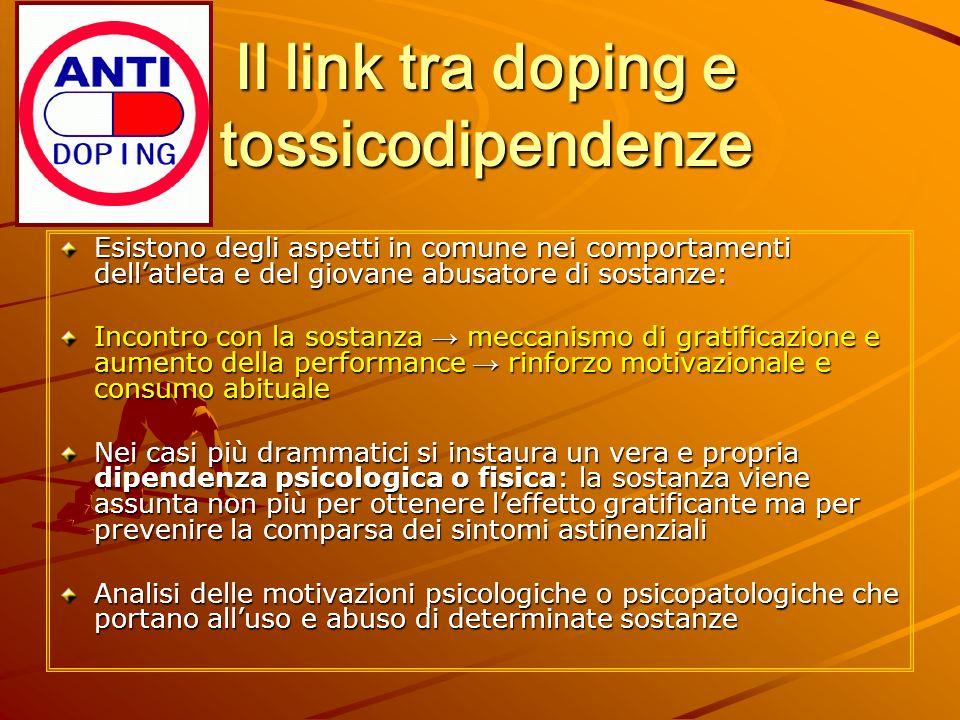 Il link tra doping e tossicodipendenze