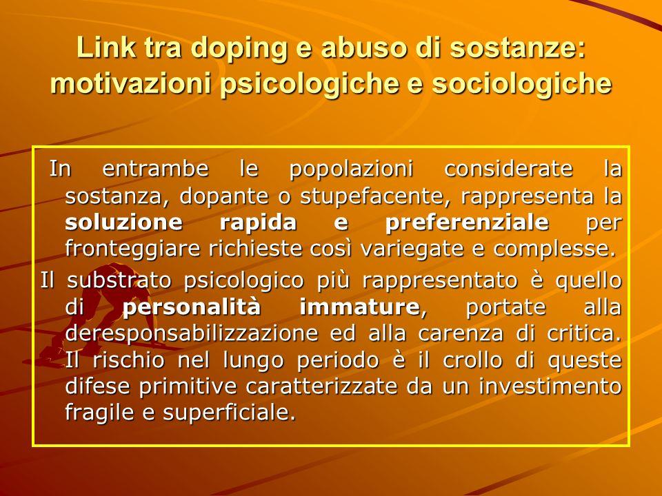 Link tra doping e abuso di sostanze: motivazioni psicologiche e sociologiche