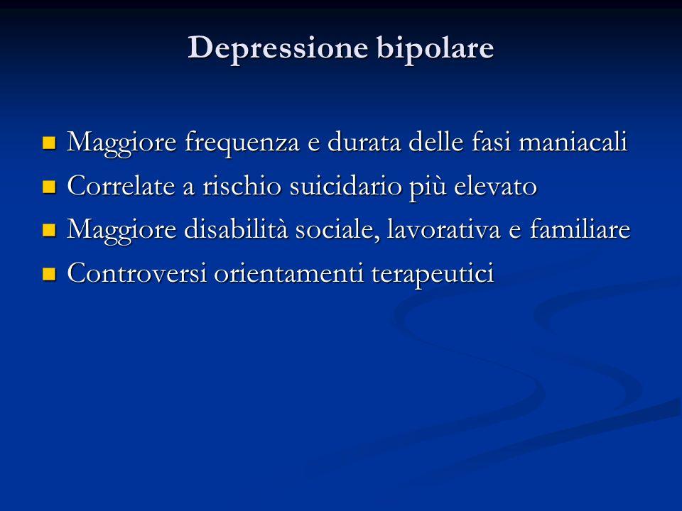 Depressione bipolare Maggiore frequenza e durata delle fasi maniacali