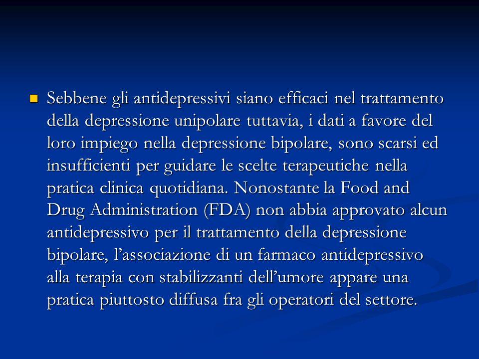 Sebbene gli antidepressivi siano efficaci nel trattamento della depressione unipolare tuttavia, i dati a favore del loro impiego nella depressione bipolare, sono scarsi ed insufficienti per guidare le scelte terapeutiche nella pratica clinica quotidiana.