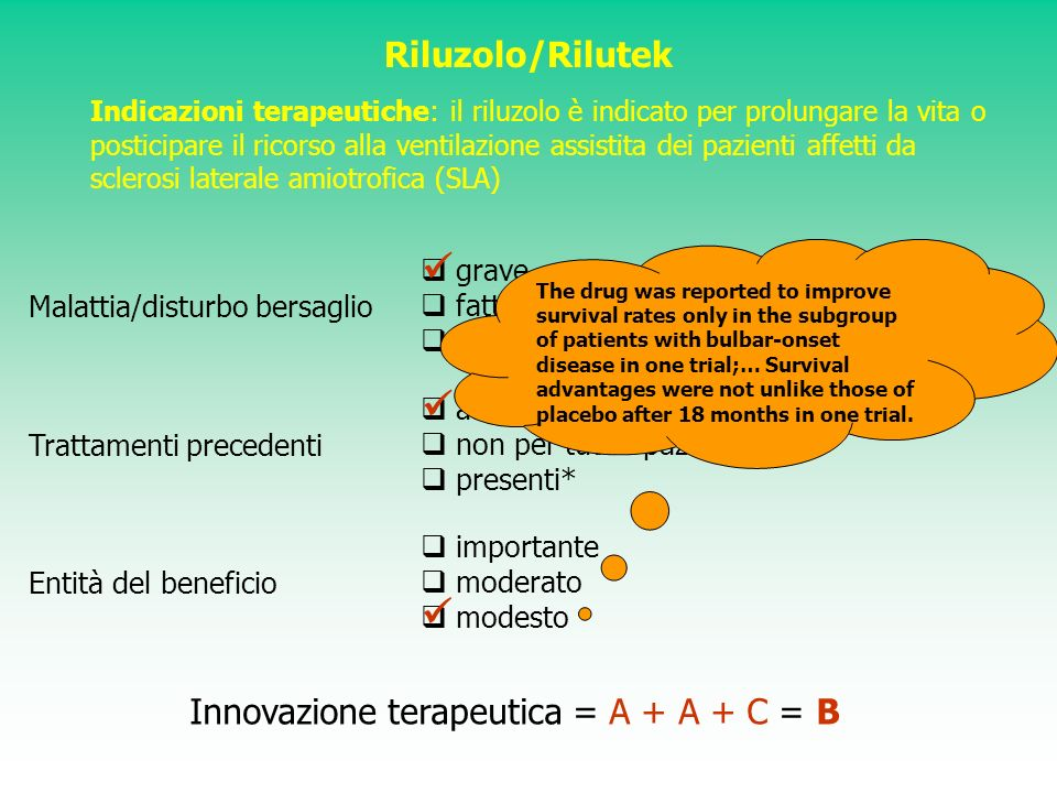    Riluzolo/Rilutek Innovazione terapeutica = A + A + C = B