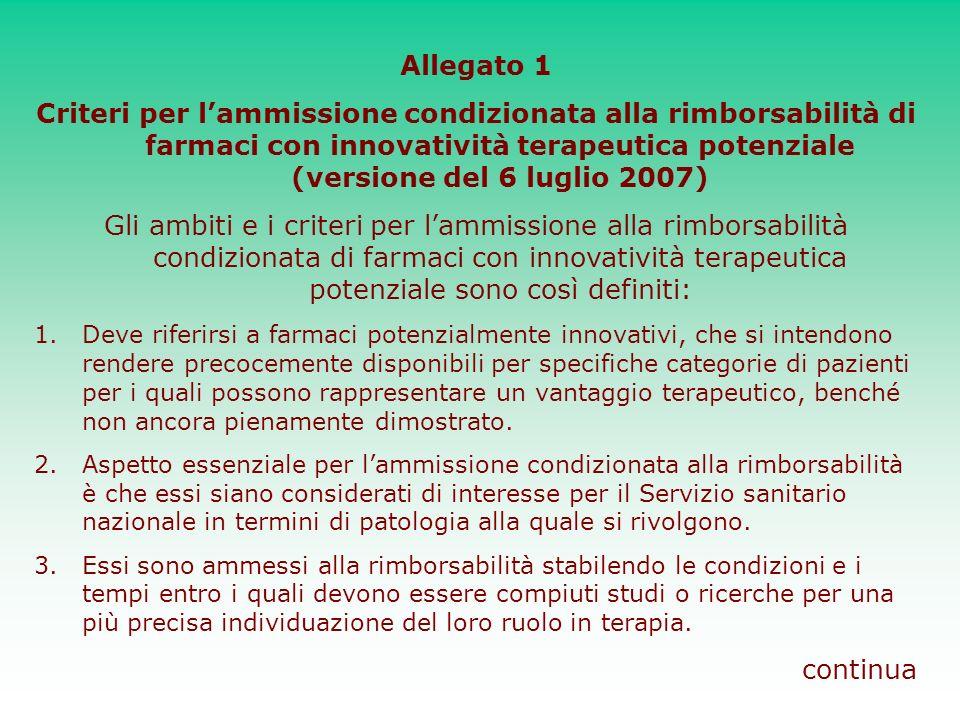 Allegato 1 Criteri per l'ammissione condizionata alla rimborsabilità di farmaci con innovatività terapeutica potenziale (versione del 6 luglio 2007)