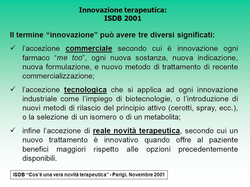 Innovazione terapeutica: ISDB 2001