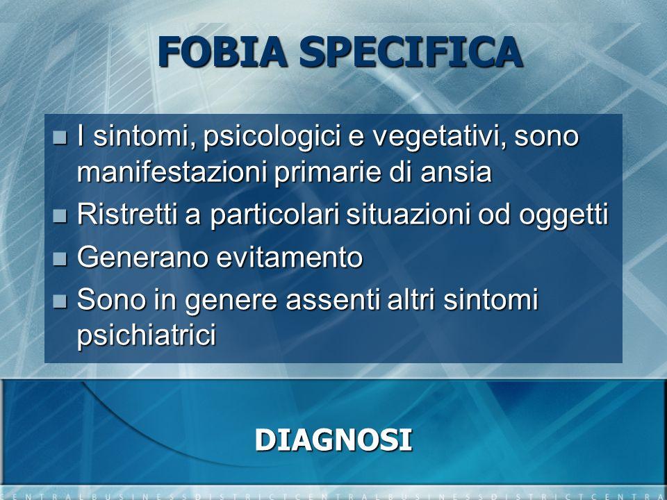 FOBIA SPECIFICA I sintomi, psicologici e vegetativi, sono manifestazioni primarie di ansia. Ristretti a particolari situazioni od oggetti.