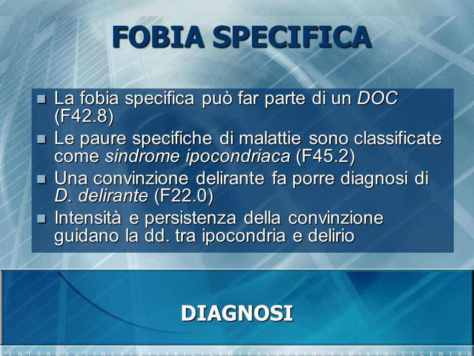 FOBIA SPECIFICA DIAGNOSI