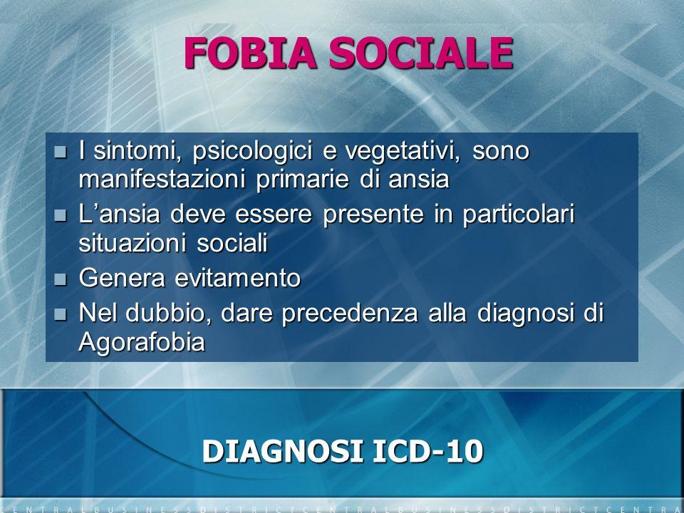 FOBIA SOCIALE DIAGNOSI ICD-10