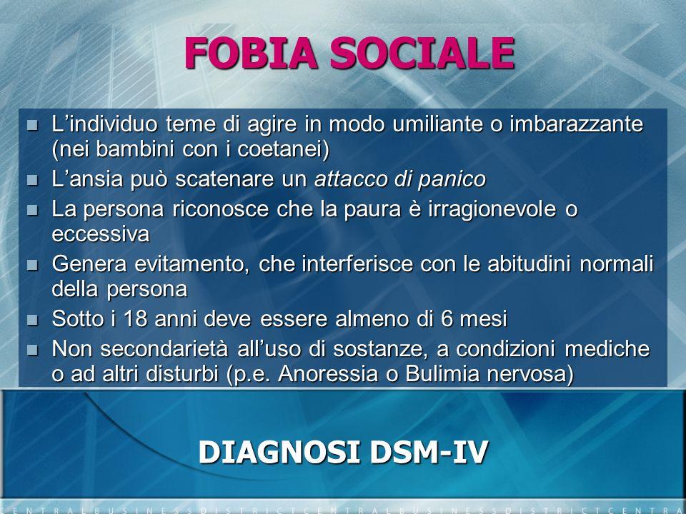 FOBIA SOCIALE DIAGNOSI DSM-IV