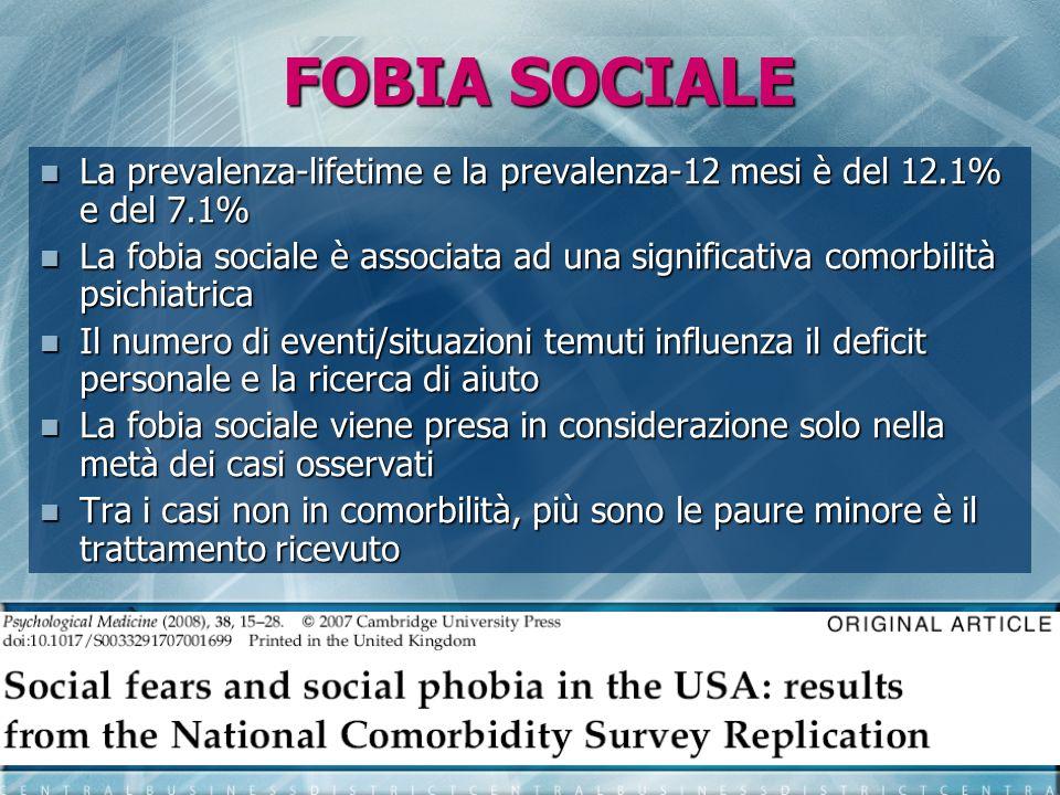 FOBIA SOCIALE La prevalenza-lifetime e la prevalenza-12 mesi è del 12.1% e del 7.1%