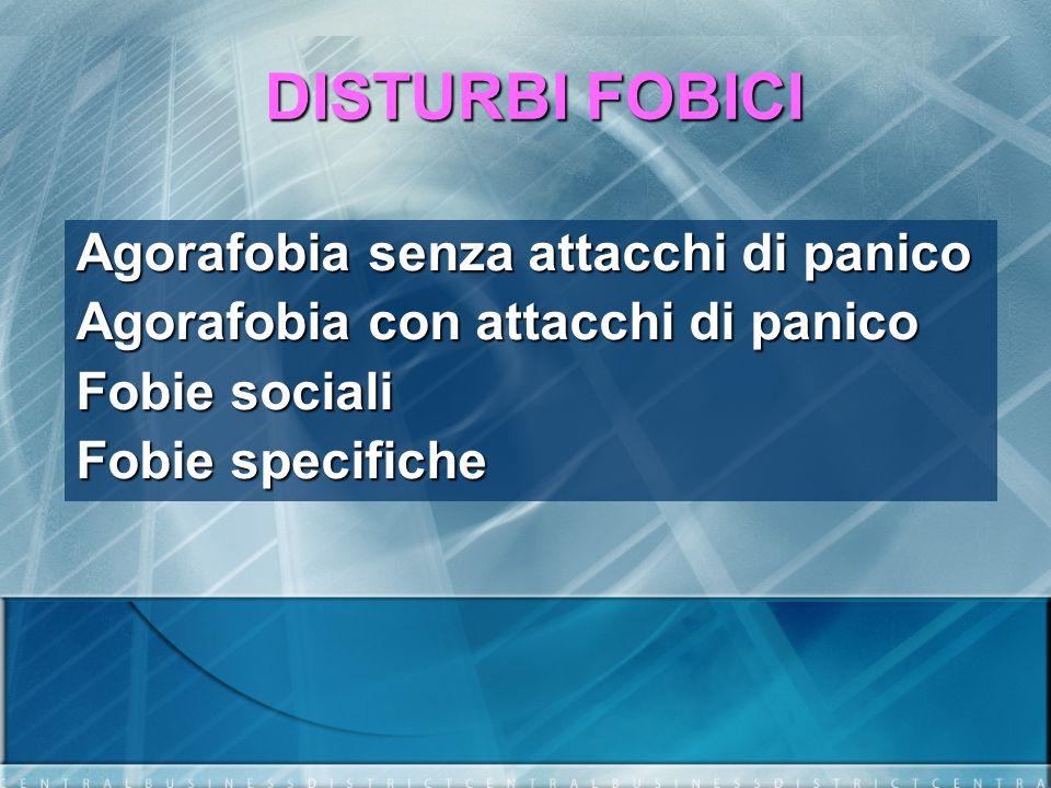 DISTURBI FOBICI Agorafobia senza attacchi di panico