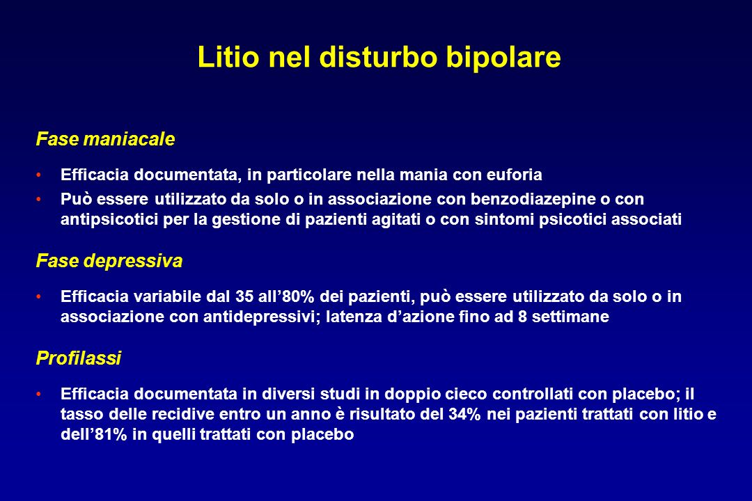 Litio nel disturbo bipolare