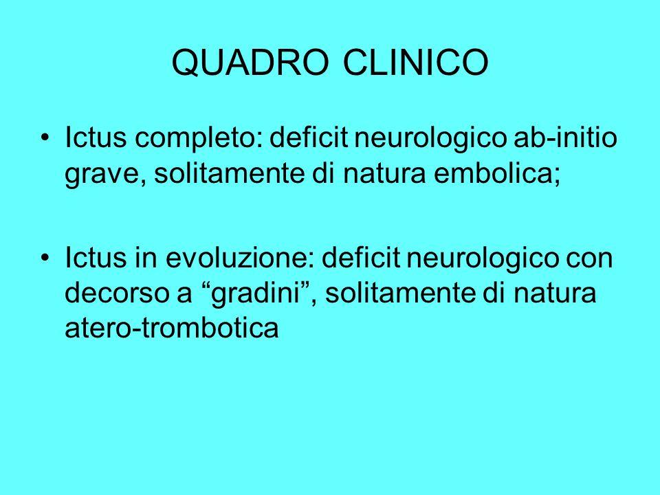 QUADRO CLINICO Ictus completo: deficit neurologico ab-initio grave, solitamente di natura embolica;