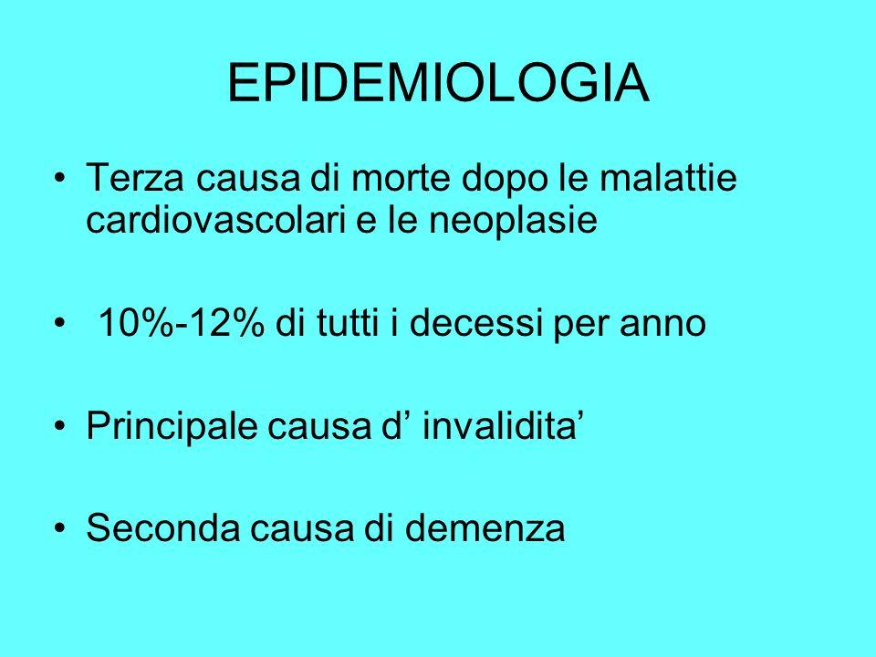 EPIDEMIOLOGIA Terza causa di morte dopo le malattie cardiovascolari e le neoplasie. 10%-12% di tutti i decessi per anno.