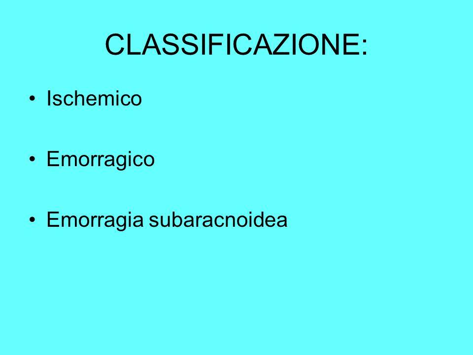 CLASSIFICAZIONE: Ischemico Emorragico Emorragia subaracnoidea
