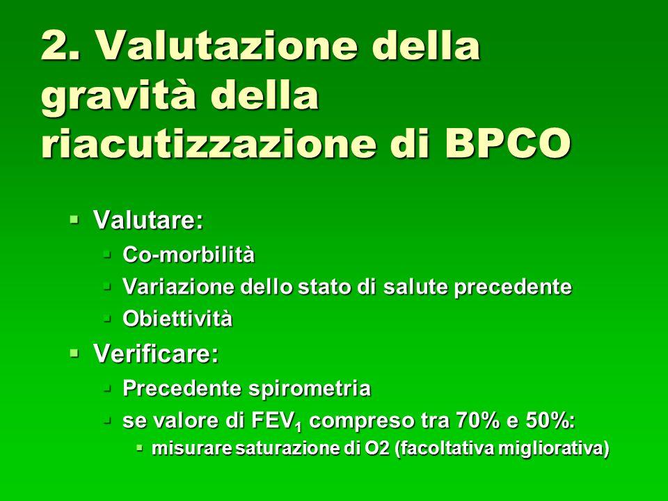 2. Valutazione della gravità della riacutizzazione di BPCO