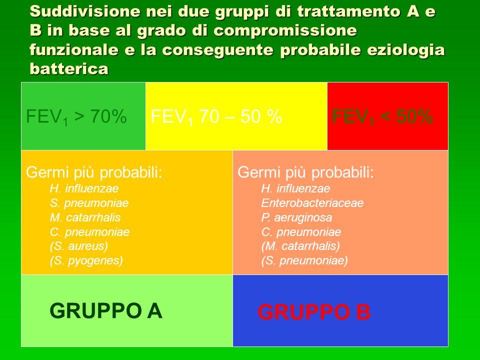 GRUPPO B GRUPPO A FEV1 > 70% FEV1 70 – 50 % FEV1 < 50%