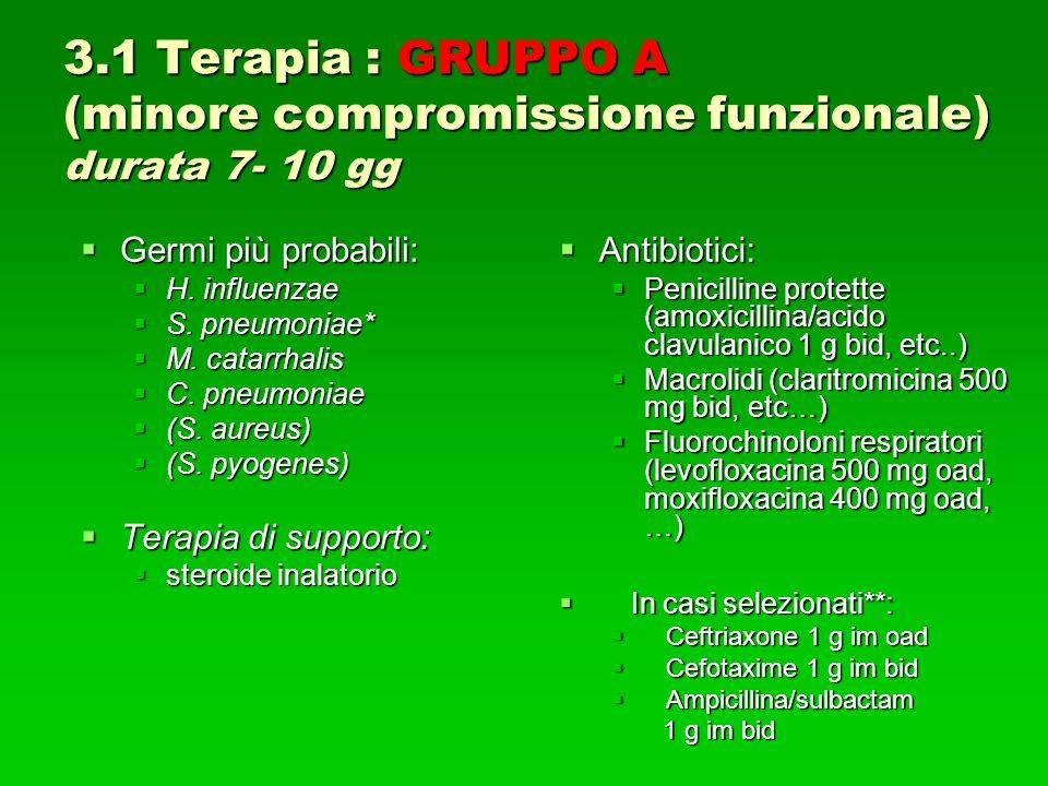 3.1 Terapia : GRUPPO A (minore compromissione funzionale) durata 7- 10 gg