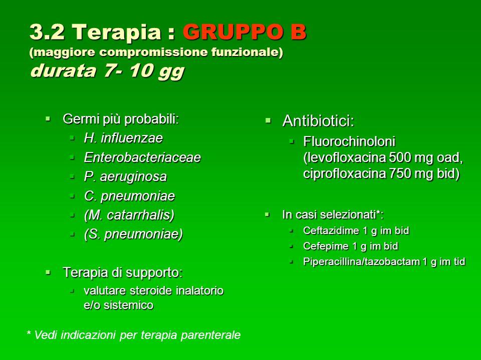 3.2 Terapia : GRUPPO B (maggiore compromissione funzionale) durata 7- 10 gg