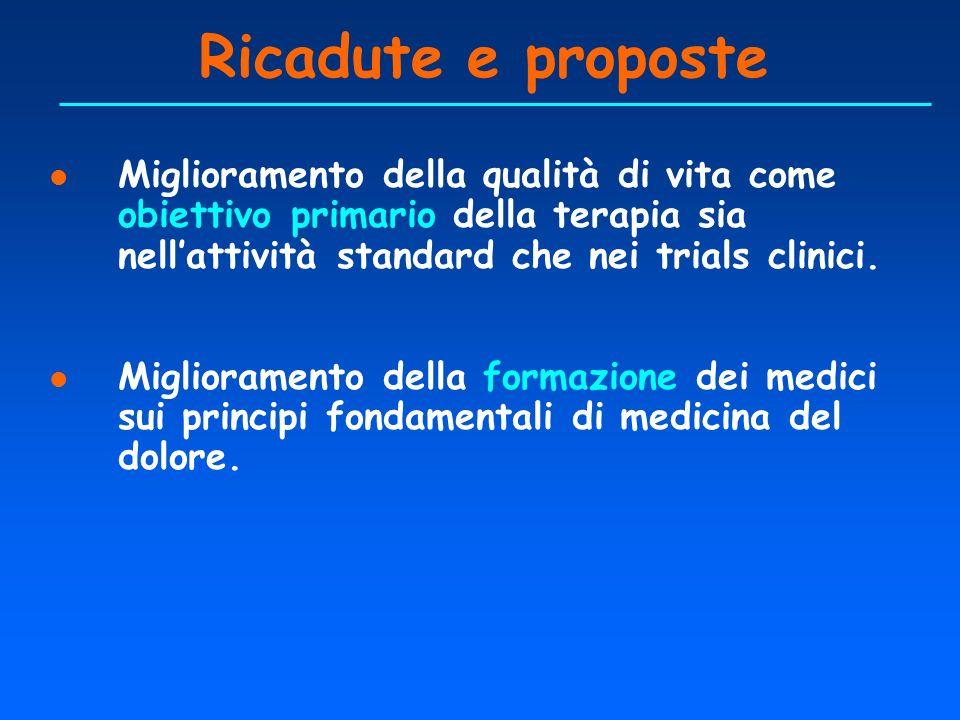 Ricadute e proposte Miglioramento della qualità di vita come obiettivo primario della terapia sia nell'attività standard che nei trials clinici.