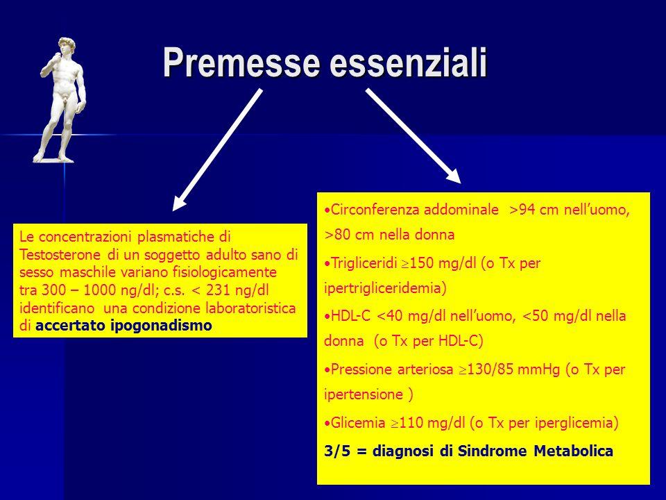 Premesse essenziali Circonferenza addominale >94 cm nell'uomo, >80 cm nella donna. Trigliceridi 150 mg/dl (o Tx per ipertrigliceridemia)