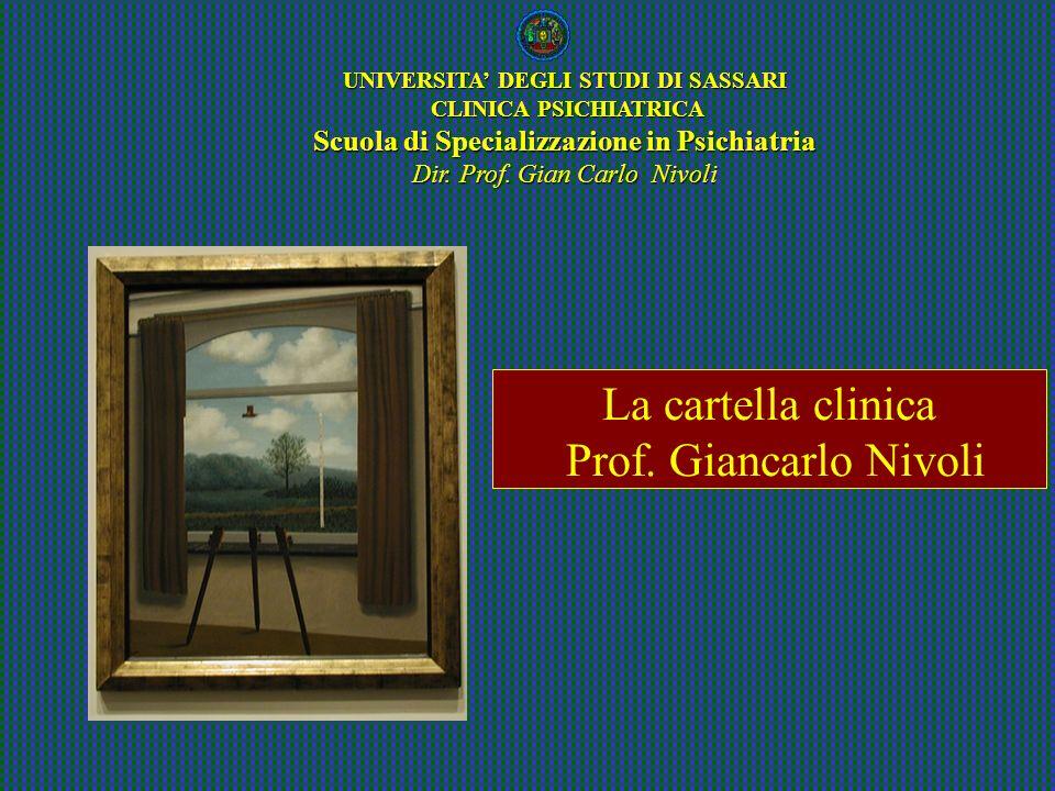 La cartella clinica Prof. Giancarlo Nivoli