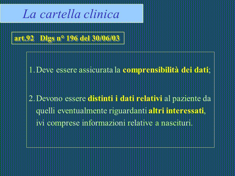 La cartella clinica art.92 Dlgs n° 196 del 30/06/03. Deve essere assicurata la comprensibilità dei dati;