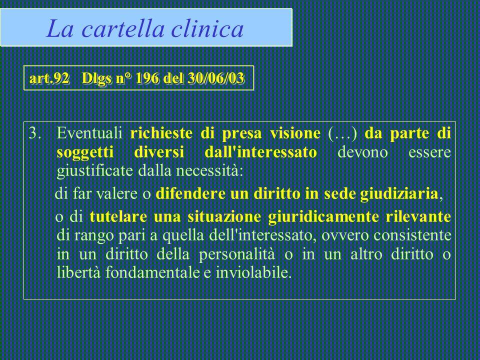 La cartella clinicaart.92 Dlgs n° 196 del 30/06/03.