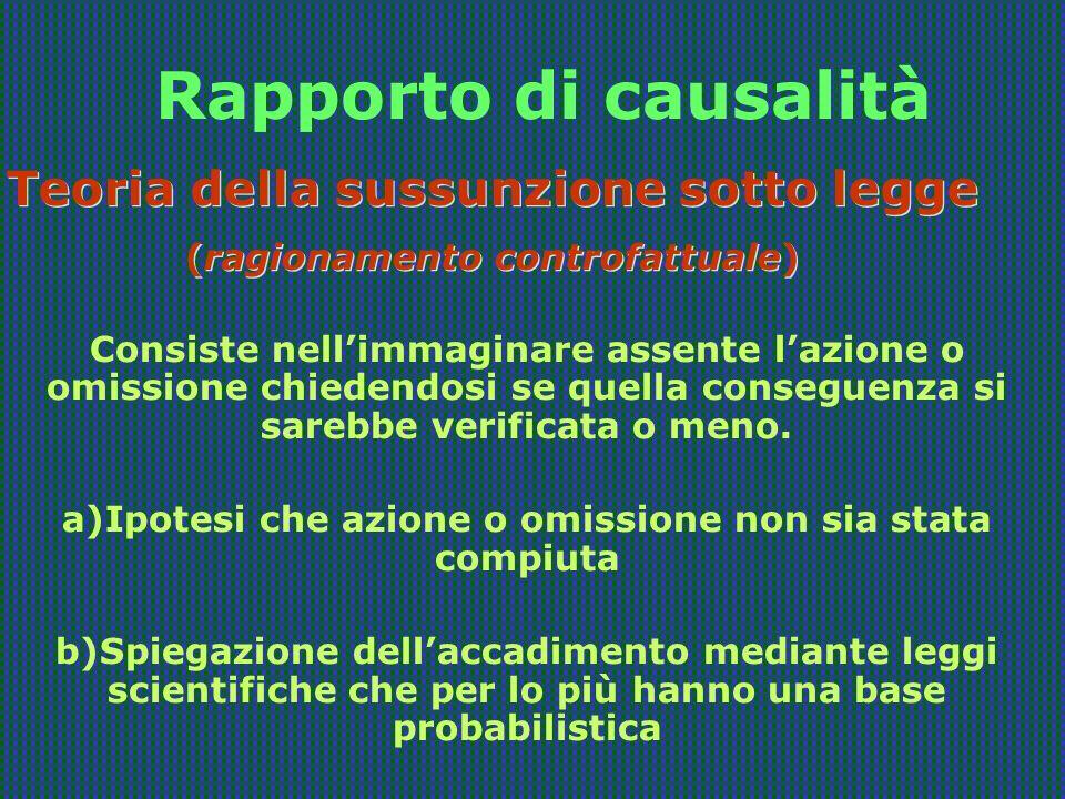 Rapporto di causalità Teoria della sussunzione sotto legge