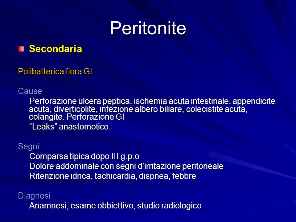 Peritonite Secondaria Polibatterica flora GI Cause