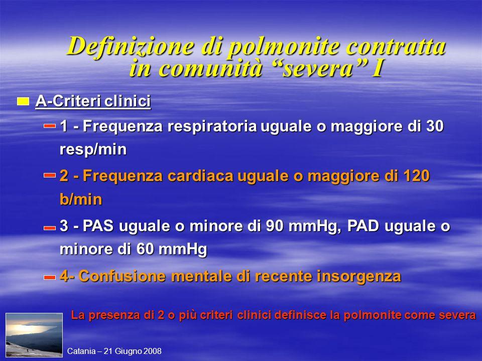 Definizione di polmonite contratta in comunità severa I