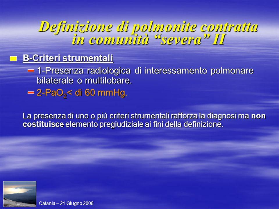 Definizione di polmonite contratta in comunità severa II