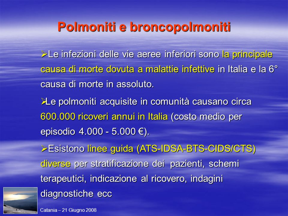 Polmoniti e broncopolmoniti