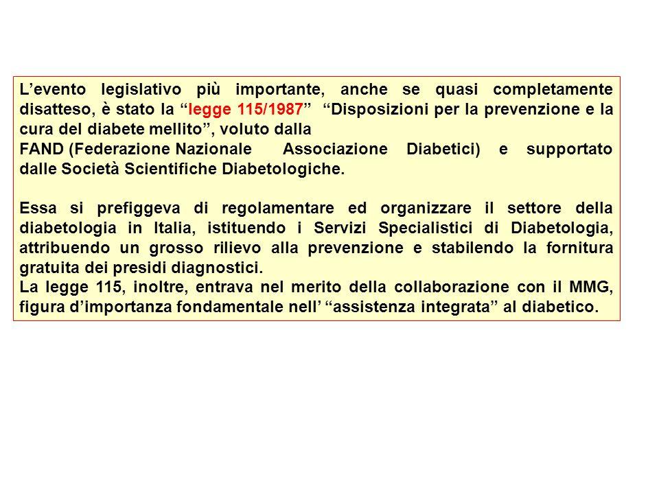 L'evento legislativo più importante, anche se quasi completamente disatteso, è stato la legge 115/1987 Disposizioni per la prevenzione e la cura del diabete mellito , voluto dalla