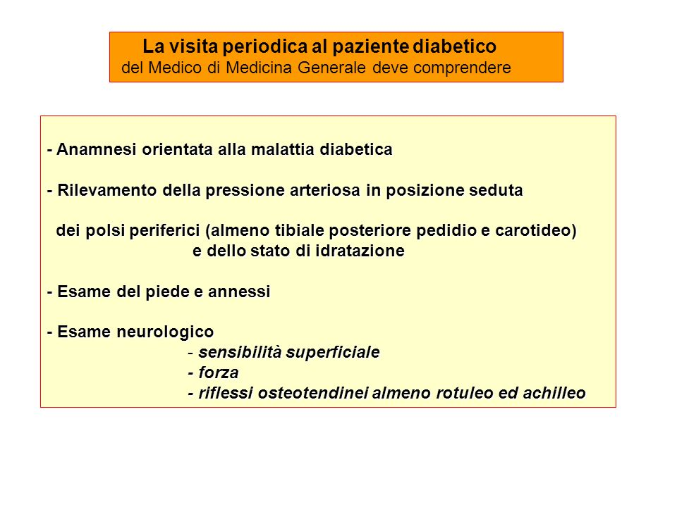 La visita periodica al paziente diabetico