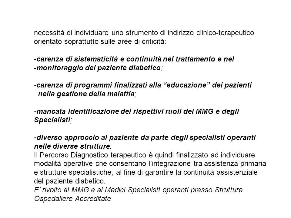 necessità di individuare uno strumento di indirizzo clinico-terapeutico orientato soprattutto sulle aree di criticità: