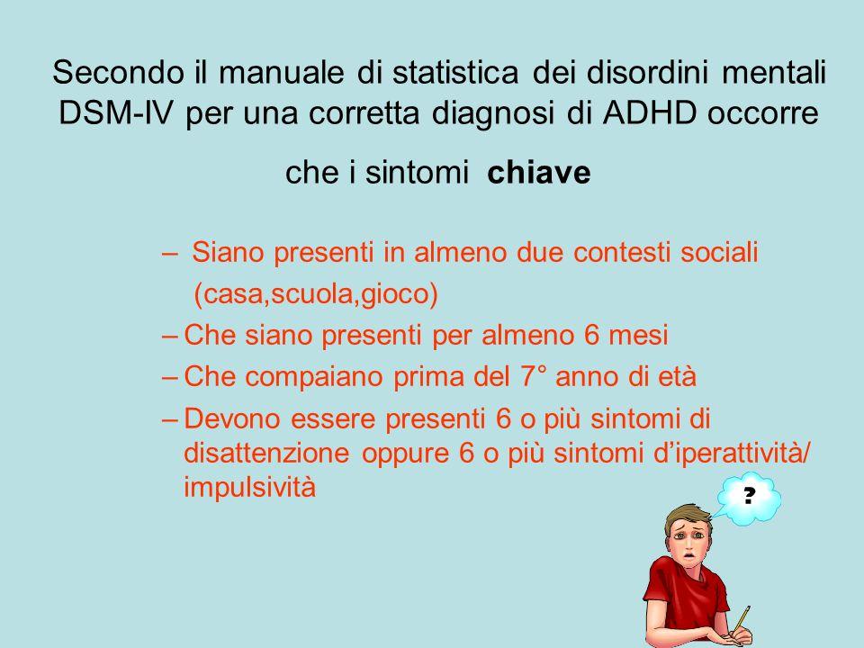Secondo il manuale di statistica dei disordini mentali DSM-IV per una corretta diagnosi di ADHD occorre che i sintomi chiave
