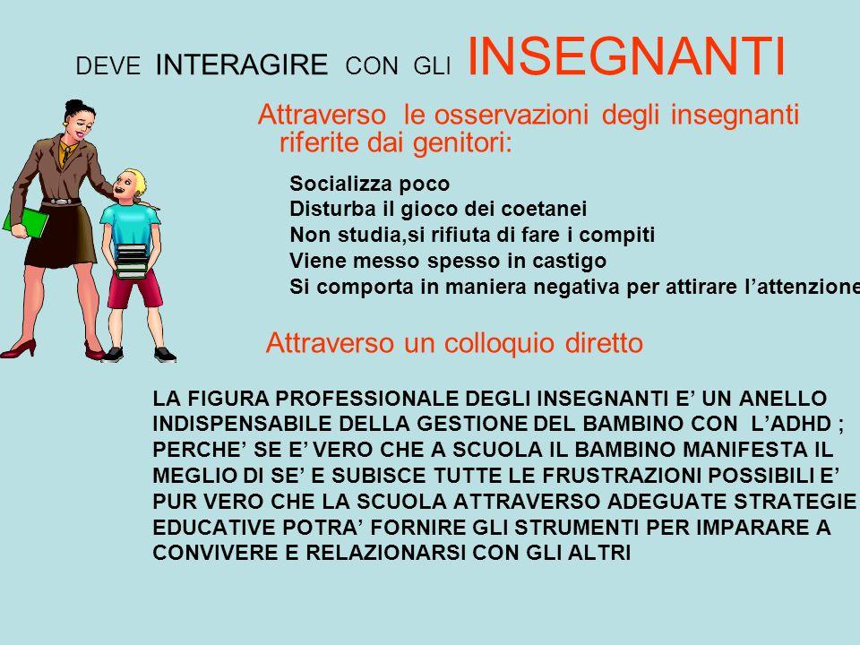 DEVE INTERAGIRE CON GLI INSEGNANTI