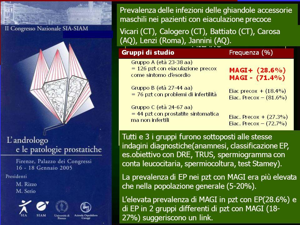Prevalenza delle infezioni delle ghiandole accessorie maschili nei pazienti con eiaculazione precoce