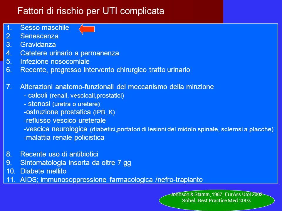 Fattori di rischio per UTI complicata