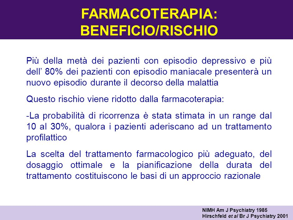 FARMACOTERAPIA: BENEFICIO/RISCHIO
