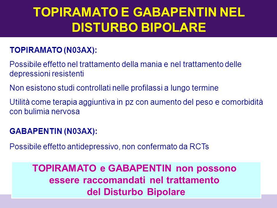 TOPIRAMATO E GABAPENTIN NEL DISTURBO BIPOLARE