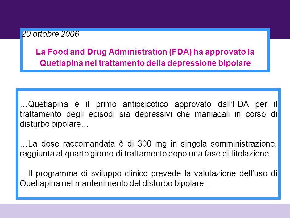 20 ottobre 2006 La Food and Drug Administration (FDA) ha approvato la Quetiapina nel trattamento della depressione bipolare.