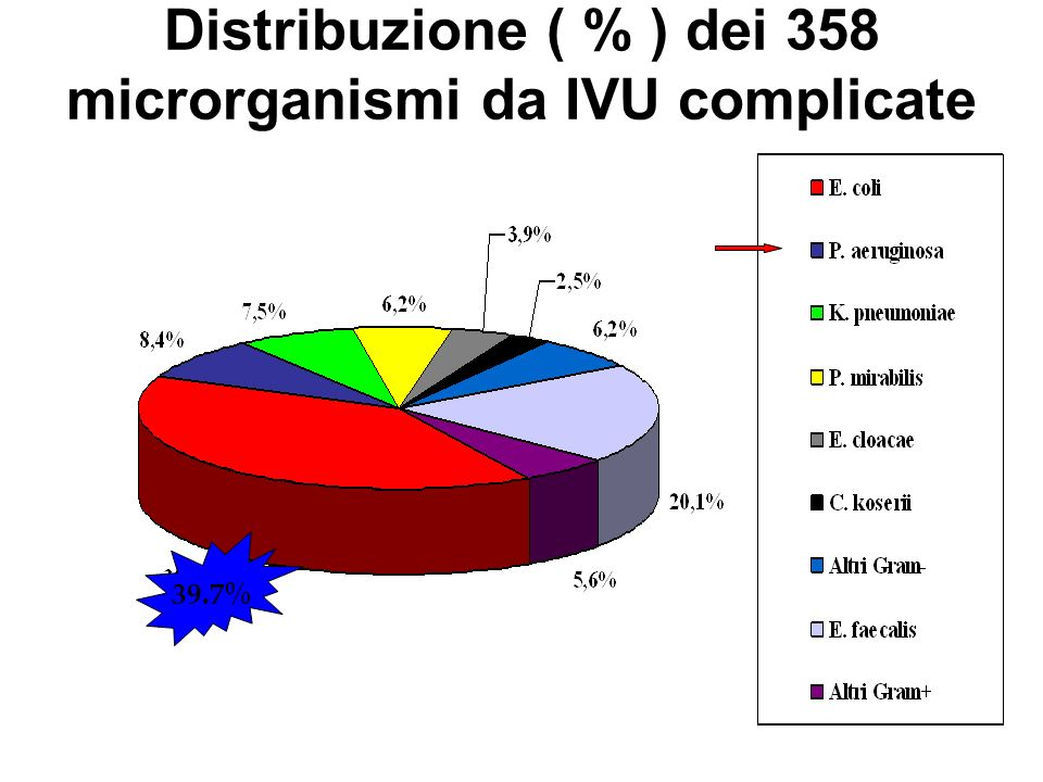 Distribuzione ( % ) dei 358 microrganismi da IVU complicate