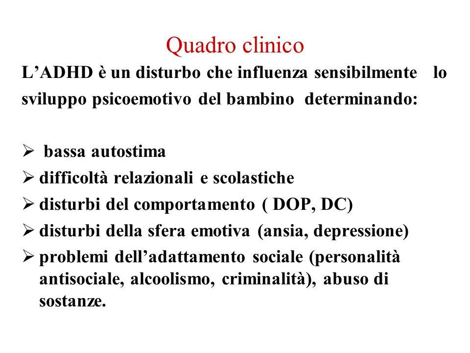 Quadro clinico L'ADHD è un disturbo che influenza sensibilmente lo